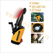 Emergency dynamo Flashlight /Car Hammer/Auto Safety Seatbelt Cutter Glass Window Punch Breaker Emergency Rescue Disaster