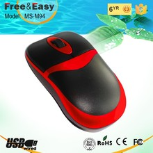 Private model cola red rubber surface 3d optical wired mouse