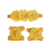 2016 Europle Hot Sales Fancy Big Chiffon Flower Plain Baby Headbands Baby Girl Hairband Accessories Plain Baby Headhands