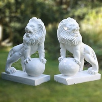 Hand carved stone outdoor animal white marble lion statues for sale