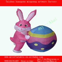 Airblown inflatabel easter bunny with paint eggshell