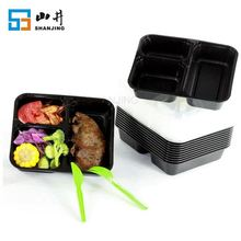 China supplier plastic stackable 3 compartment hot food delivery containers
