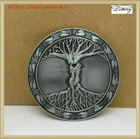 BUC9235 Round Metal Love tree belt buckle with pewter finish factory price