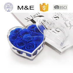Premium Gift Package Acrylic Heart Shape Fresh Flower Packing Box