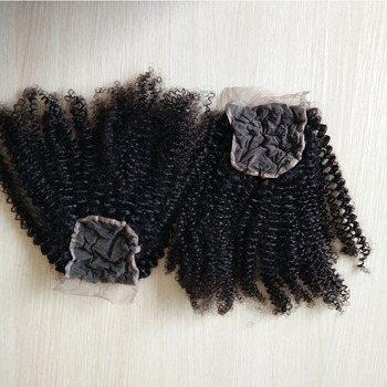 Wholesale cheap Virgin human hair kinky curly top full lace closure piece with bundles
