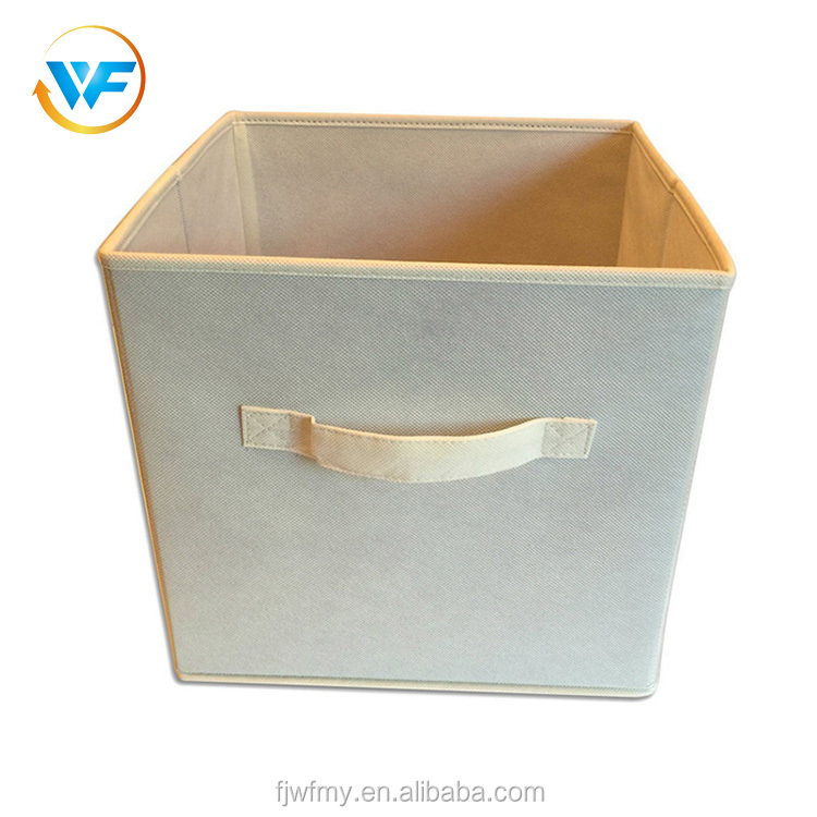 High quality simple design beige folding bin collapsible non woven fabric storage box with handle