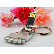 Promotional metal foot flash drive usb Fancy foot shape flash drive usb with keychain