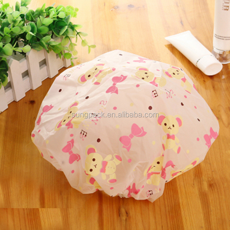 Cute pink bear pvc shower cap for baby