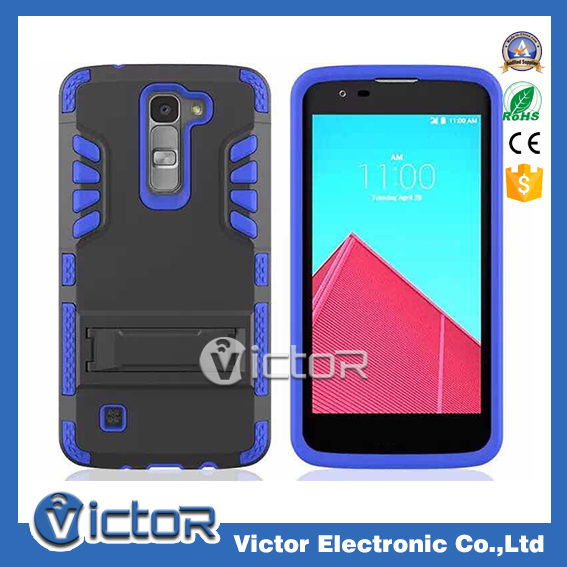 3 in 1 silicon + PC kickstand hybrid holster phone case set for LG K7/M1 mobile phone hard case