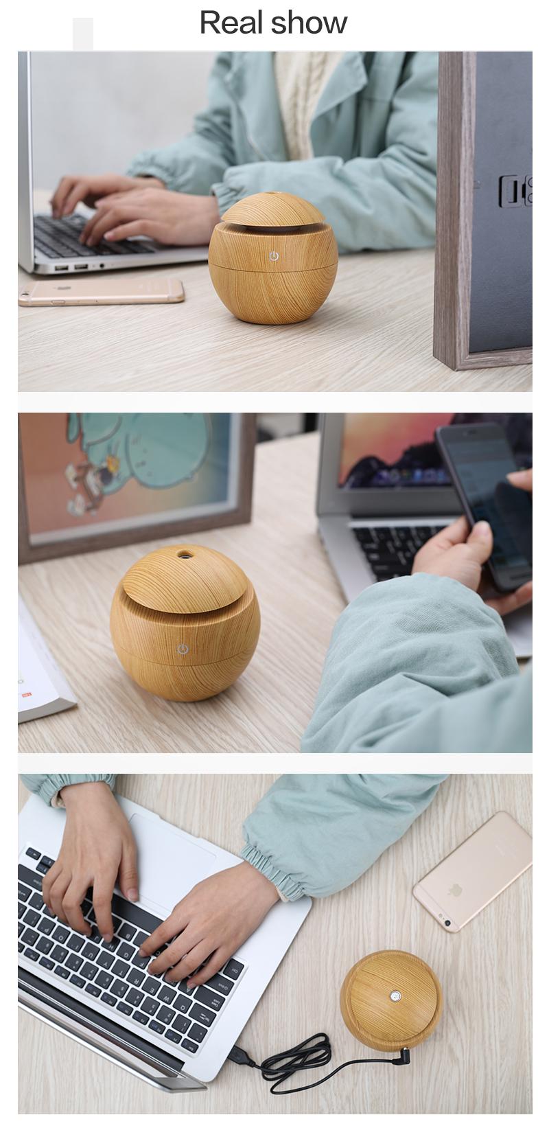 Diffuseur d'huiles essentielles USB KBAYBO bois clair, aromathérapie, sur un bureau