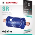 "Sanrong SR-053s Steel Liquid Line Filter Drier with 3/8"" ODF Solder for R134a R410A Air Conditioning"