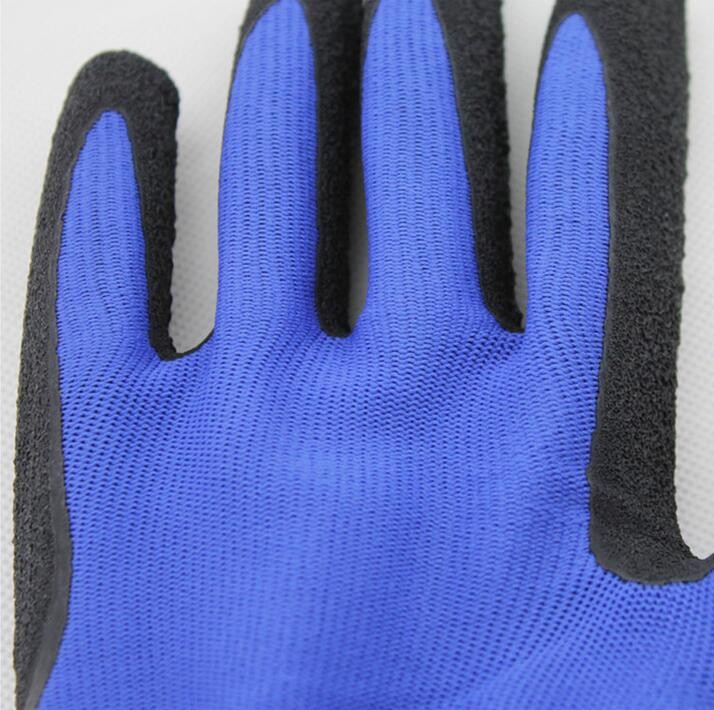 Red coated safety working gloves nitrile