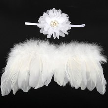 Infant Girl Photo Photography Props white color Newborn Baby Angel Wing & Hairband Set Feather with Rhinestone Headband