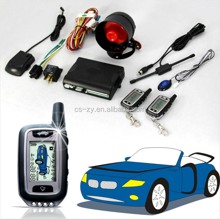 2 Way LCD Screen Security Car Alarm System With Remote Engine Start