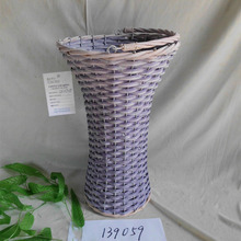 Cheap Purple Wooden Wicker Basket Flower Vase