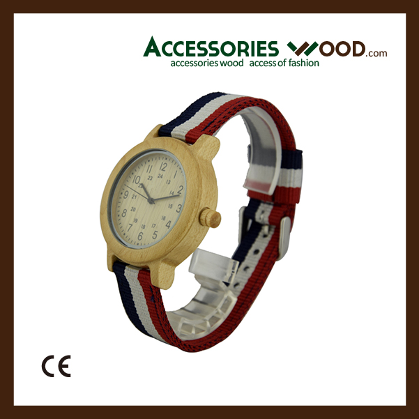 Maple wood watch with cloth band for all ages with custom logo and japan movment in 2016