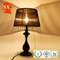 fashion design black pleated lingting frosted glass fabric table or hanging lamp shade for LED cover