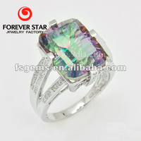 Fashionble 925 sterling silver ring with Magic Green Topaz