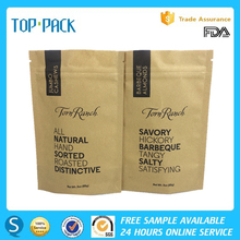 2017 Offset Printing Stand Up Kraft Paper Airproof Jumbo Cashews Packaging Pouch Bag