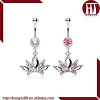 HT Special Belly Button Ring with CZ gem Jeweled Diva Crown Shaped Dangle Navel Barbell Piercing Jewelry