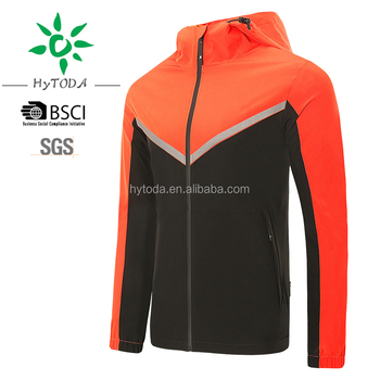 2017 printed logo quickly men wind hooded jacket for running reflect light