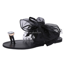 high quality Fast Delivery Fashion Women Flat Sandals With lace Bow