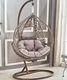 Outdoor Wooden Metal Swing Egg Shaped Hanging Lounge Chair