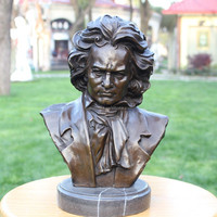 Folk Art Bronze Bust Of Beethoven