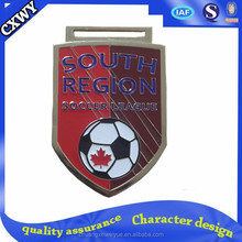 Superior quality flag shape sport medals for soccer league