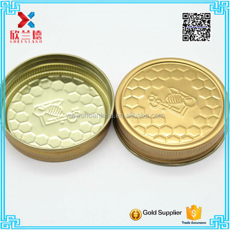 Hot sale gold color glass honey jar top lid cap 60mm