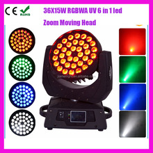 Professional DJ Lighting 4in1 RGBW Wash Zoom 6in1 RGBWA + UV 36pcs 18w LED Beam Moving Head