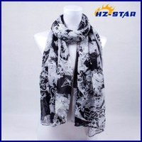 HZW-13491 Excellent popular colour silk 2015 custom made polyester soft ladies arab Skull Heads hijab scarf