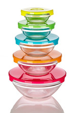 5pcs microwave glass bowl with plastic cover for dinner set
