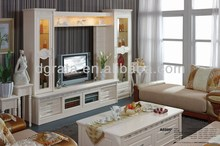 2014 luxury tv wall units was made by solid wood and MDF board with carving
