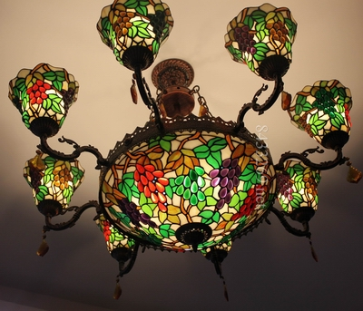 Wholesale tiffany style chandelier with stained glass for restaurants