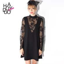 HAODUOYI Summer Women Sexy Black Lace Patchwork Dress Cute Slim A Line Dresses for Wholesale