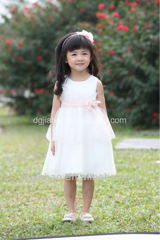 Lace Cotton Girls Dresses of Soft Cloth tight white dress
