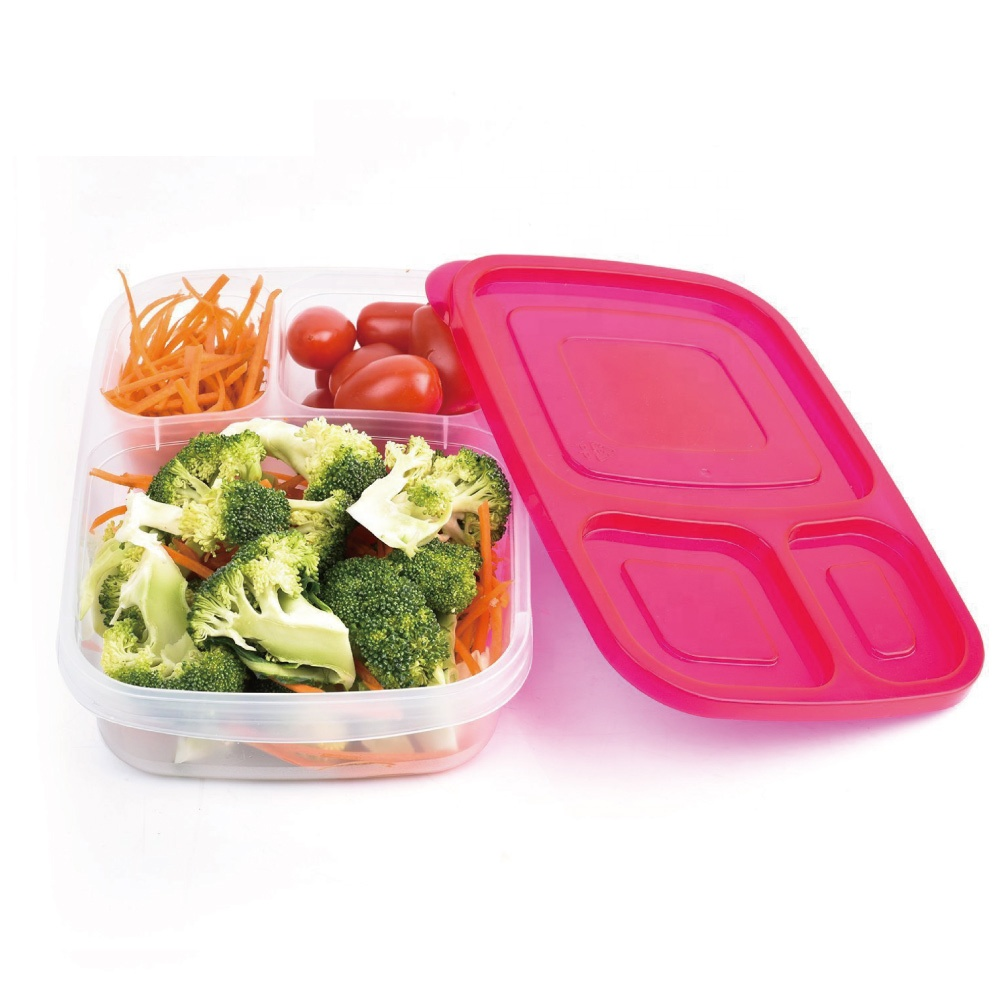 Wholesale BPA Free <strong>Plastic</strong> 3-Compartment Container Bento Lunch Box