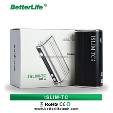 Bullvapor Factory price ISLIM TC 60W box mod vapor big battery mod e cigarette with adjustable voltage vv 1800mah battery