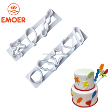 New design DIY 2pcs party balloon cookie cutter cute plastic fondant cake decorating tools