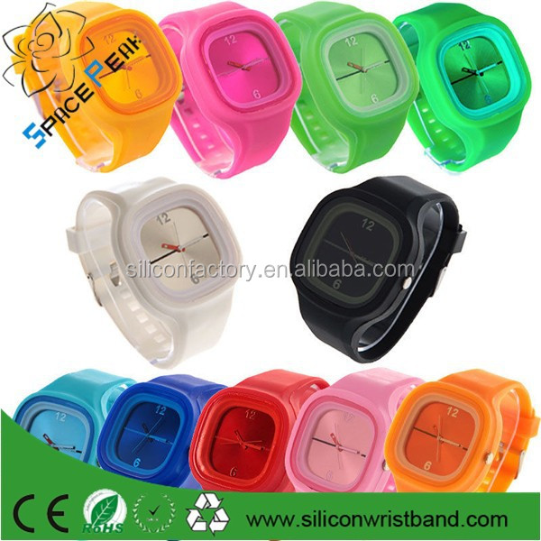Lovely High-Quality Jelly Wrist Silicone SS.COM Watches square cheaper watch Mix 13 Color