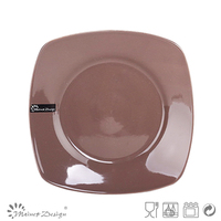 Square 8 inch home dinner plate chocolate color