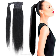 Nice looking unprocessed virgin Brazilian extension aliexpress 8a grade natural black color drawstring ponytail