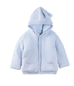 Winter baby thick warm knit cotton-padded jacke with cap