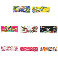 100% Cotton Flowers Bow Peony Print Flowers Headbands Rabbit Ear Hair Tie Bands Hair Accessories