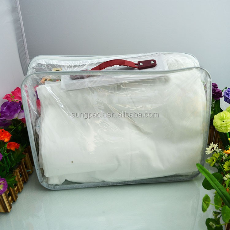 Pvc transparent quilt bag / zipper quilt bag / clear quilt bag