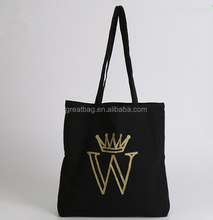 Wholesale plain black cotton canvas tote bag with logo printing