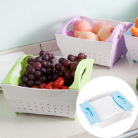 Portable and Unique Plastic PP Kitchen Fruit and Vegetable Sink Basket