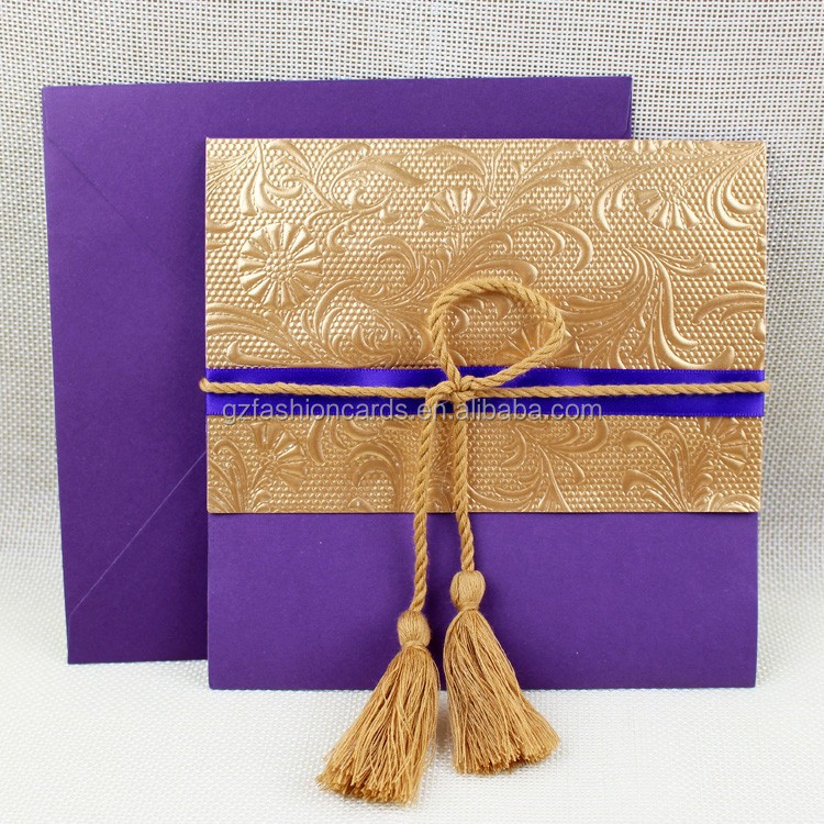 Latest Pakistan Purple Gold Embossed <strong>Craft</strong> Wedding Invitation with Tassel