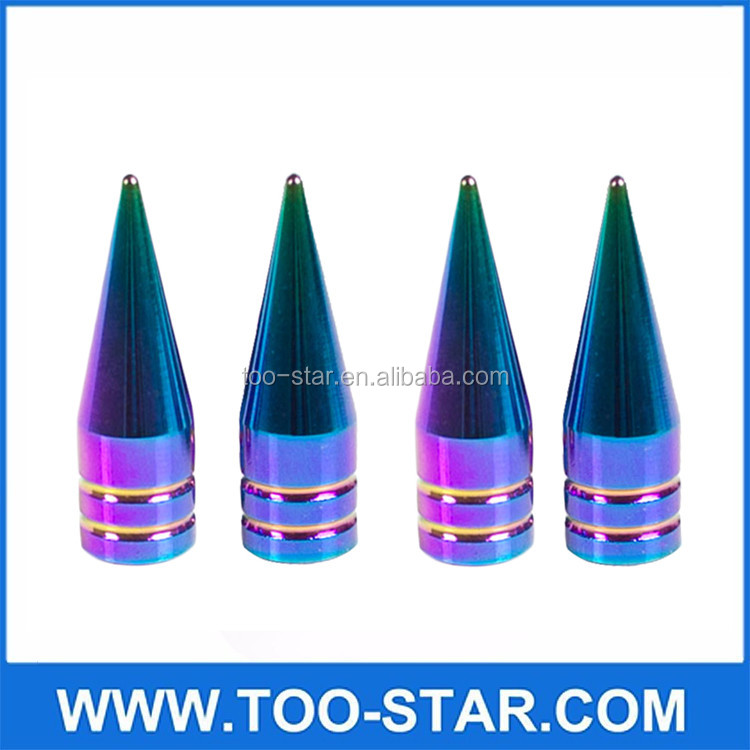 4 NEO CHROME LONG SPIKED VALVE STEM CAPS Colorful METAL THREAD KIT/SET FOR WHEEL/TIRES